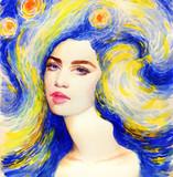 starry night. beautiful woman. fantasy  illustration. watercolor painting - 244357097