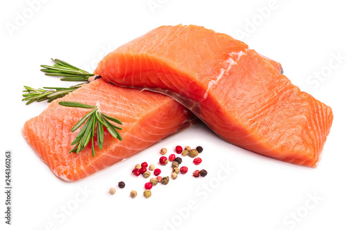fillet of red fish salmon with rosemary isolated on white background - 244360263