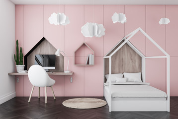 Pink kids bedroom interior