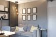 3d illustration of interior design concept for home office - 244385252