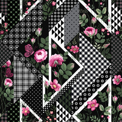 seamless floral patchwoek pattern with roses