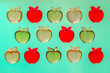 3 rows of colorful plastic apples top view - 244403835