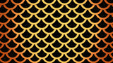 Golden fish scales on black cells pattern marine background 3D illustration