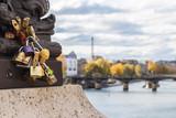 Padlocks on bridge over Seine river in Paris