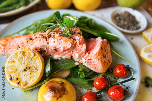 Grilled salmon food photography recipe idea - 244426048