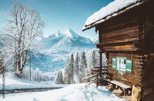 Wooden mountain hut in the Alps in winter © JFL Photography