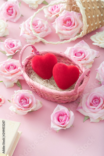 Valentine Day Red heart in a basket with roses.
