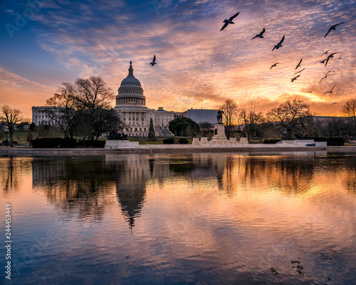 Wall mural Sunrise flight over the Capitol reflecting pool