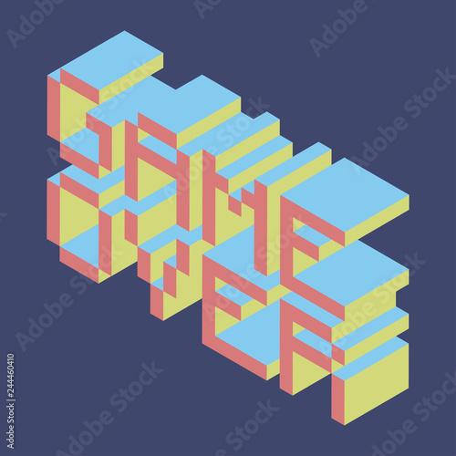 Vector isometric retro pixel 80s 90s game over geek font