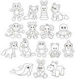 Collection of funny toy animals, black and white vector illustrations in a cartoon style for a coloring book