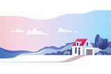 Rural landscape. Suburban traditional  house. Family home. Vector illustration. - 244466017