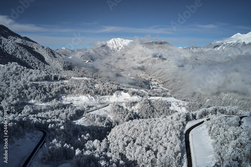 Beautiful winter landscape with snow covered trees. Caucasus mountain view from Roza Khutor - 244467694