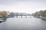 Fototapeta Paryż - Panorama view of the bridge Pont des Arts and river Seine in Paris, France in the winter season. © varandah