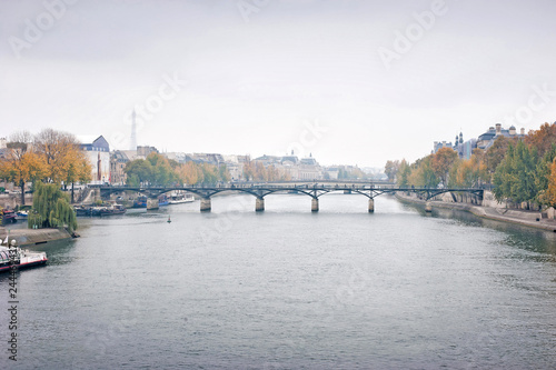 Wall mural Panorama view of the bridge Pont des Arts and river Seine in Paris, France in the winter season.