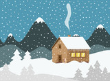Evening Winter Landscape with Mountains on Background and Wooden Cottage Chimney Smoke. Field and Trees Covered with Snow. - 244482212