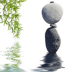 bannière zen, galets et feuilles de bambou