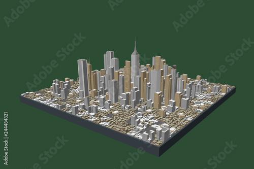 Wall mural 3D model of city. Vector illustration