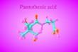 Leinwanddruck Bild - Molecular model of pantothenic acid, pantothenate, a water-soluble vitamin. Healthy life concept. Medical background. Scientific background. 3d illustration