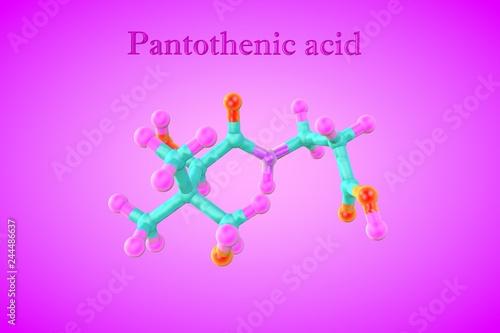 Leinwanddruck Bild Molecular model of pantothenic acid, pantothenate, a water-soluble vitamin. Healthy life concept. Medical background. Scientific background. 3d illustration