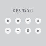 Set of 8 zoo icons set. Collection of owl, panda, bear elements.