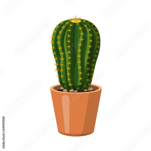 Wall mural Isolated object of cactus and pot sign. Collection of cactus and cacti vector icon for stock.