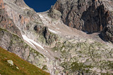 Panoramic view of the rock faces of Monte Cassina Baggio in the upper Bedretto valley in Switzerland