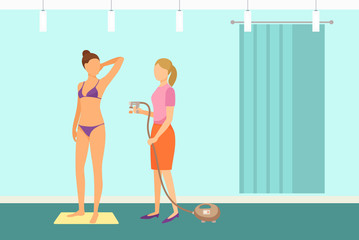 Tanning Spa Procedure by Expert Specialist Vector © robu_s