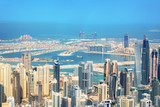 Aerial view of Dubai Marina skyline, Palm Jumeirah in the background, United Arab Emirates