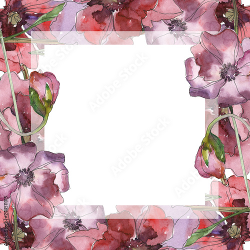 Purple red poppy floral botanical flower. Watercolor background illustration set. Frame border ornament square. - 244511015