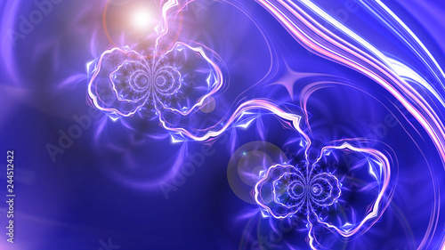 Leinwandbild Motiv Abstract composition with blue fractals as liquid or flash, bright modern background, 3d computer generated illustration