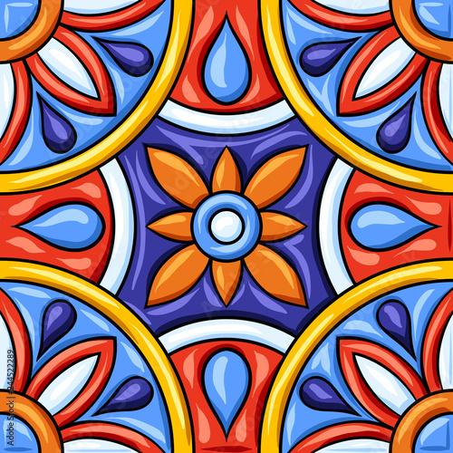 Mexican talavera ceramic tile pattern. Ethnic folk ornament.