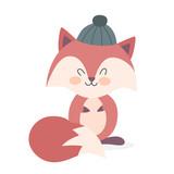 Cute funny fox in a hat. Happy creature - 244528804