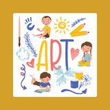 Drawing kids vector boy girl character painting in childish art-school with artist tools paint brushes palette for color paints children artwork backdrop illustration childly sketch background
