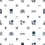 word icons pattern seamless white background - 244532080