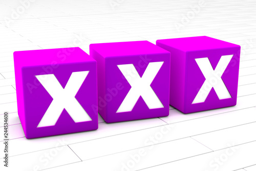 3D rendered illustration of the symbolic word XXX representing adult and X rated media material like pornography.