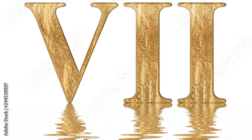 Roman Numeral Vii Septem 7 Seven Reflected On The Water Surface