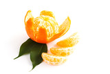 Tangerines, clementines isolated on white. Close-up.