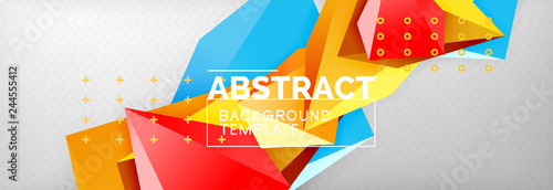 3d polygonal shape geometric background, triangular modern abstract composition - 244555412