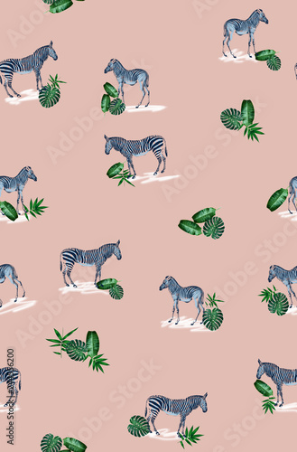 Seamless pattern with wild animal zebra print, silhouette on pink background.Seamless tropical monstera, palm, banana, bamboo leaves and flowers pattern, jungle print design. - 244556200