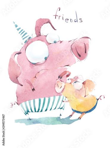 fototapeta na ścianę Good old friends-piglets