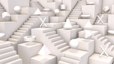 Abstract isometric 3d composition. Geometric shape background