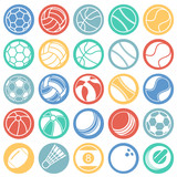 Sport ball icons set on color circles white background for graphic and web design, Modern simple vector sign. Internet concept. Trendy symbol for website design web button or mobile app