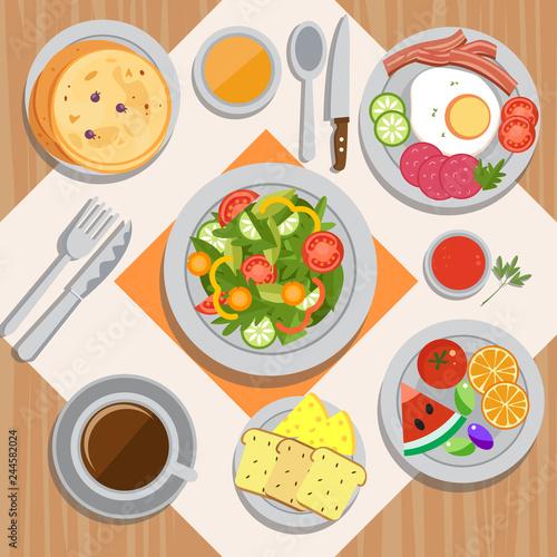 Sticker Delicious Breakfast Set Vector Illustration