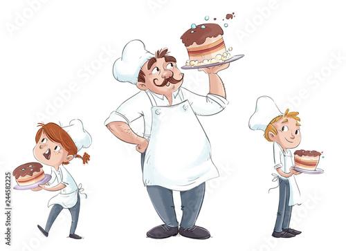 Sticker niños y hombre cocinero