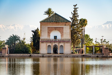 View of the famous landmark Menara Gardens in Marrakesh Morocco