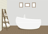 Provencal style bathroom with a fashionable bath, a rack for towels and cosmetics, paintings on the wall. Wooden planks on the floor and a light blue wall. Vector illustration