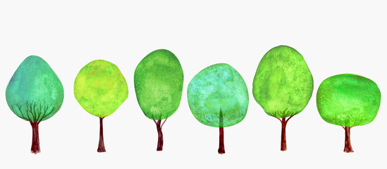Trees set. Summer background. Watercolor cartoon green colorful fresh tree collection © Olga