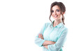 Leinwandbild Motiv Beautiful smiling woman in a mint shirt on white background.
