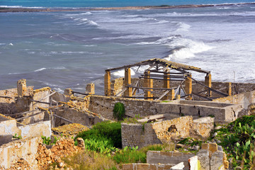 very ancient structure for the capture and the slaughter of the tuna (porto palo c.p.) Syracuse Sicily Italy © maudanros