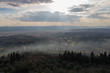 Panoramic view of Florence from Fiesole. Sunbeams are coming through clouds, Tuscany, Italy.